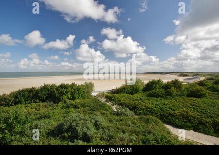 Plage de sable et dunes,à la mer du Nord Photo Stock