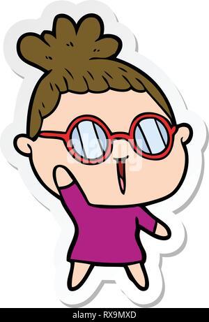 D'une caricature autocollant femme portant des lunettes Photo Stock