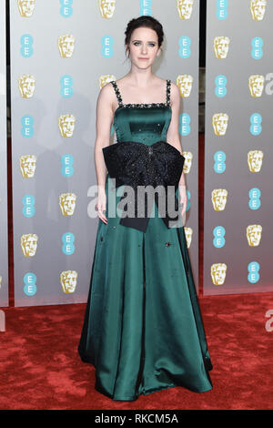 Londres, Royaume-Uni. 10 fév, 2019. Londres, Royaume-Uni. 10 février 2019 : Rachel Brosnahan arrivant pour le BAFTA Film Awards 2019 au Royal Albert Hall, Londres. Photo : Steve Sav/Featureflash Crédit : Paul Smith/Alamy Live News Photo Stock