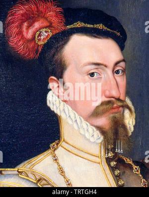 Robert Dudley, comte de Leicester, 1532-1588, portrait peinture (détail), vers 1560 Photo Stock