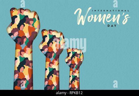 Heureux Womens Day illustration. Coupe papier mains femme avec les groupes de femmes à l'intérieur, femme foule pour l'égalité des droits ou mars girl power concept. Photo Stock