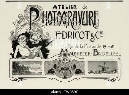 Une publicité/carte de visite pour un groupe de photographe, F. Dricot à Molenbeek, Bruxelles. Date: 1900 Photo Stock