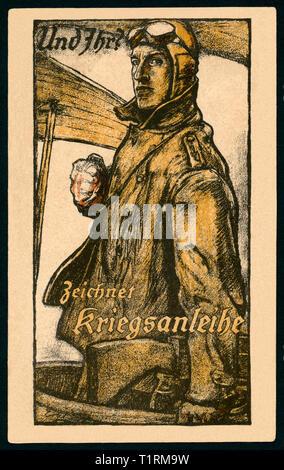 """Germany, Bavaria, Munich, LA PREMIÈRE GUERRE MONDIALE, la propagande patriotique, carte postale avec le texte: """"Et vous? Emprunts de guerre signe ' et un pilote de la Force aérienne de l'Allemagne, l'artiste Fritz Erler (1868-1940), publié par Kunst-Institute AG, Berlin-Schönefeld. , Additional-Rights Clearance-Info-Not-Available- Photo Stock"""