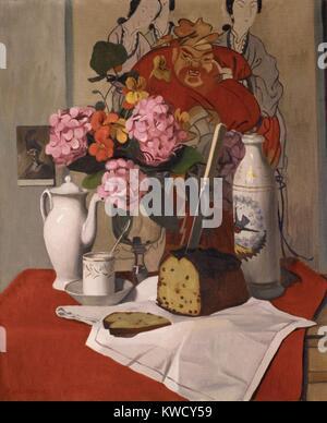 Nature morte avec fleurs, par Félix Vallotton, 1925, Suisse/Français peinture, peinture, huile sur toile. Photo Stock