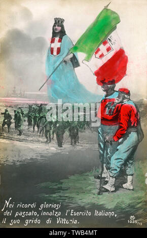 """WW1 - Italie - Carte postale du souvenir - """"dans le glorieux souvenirs du passé, elle soulève le drapeau italien - son cri est la victoire!"""" Date: vers 1917 Photo Stock"""