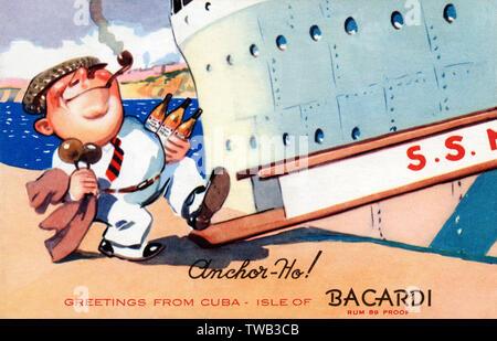 Carte postale de publicité pour le rhum Bacardi de Cuba - un tuyau jolly-fumeurs vertigineux vers la passerelle touristiques pont de son liner serrant son précieux trois bouteilles... Date: 1940 Photo Stock
