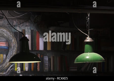 Fresque avec lampes au plafond vert sous-sol en salle de lecture. Bibliothèque Deichman Toyen, Oslo, Norvège. Architecte: Aat Vos, 2016. Photo Stock