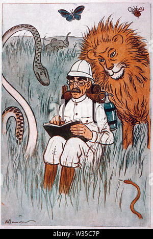 RUDYARD KIPLING (1865-1936), romancier anglais dans un dessin animé 1929 Photo Stock