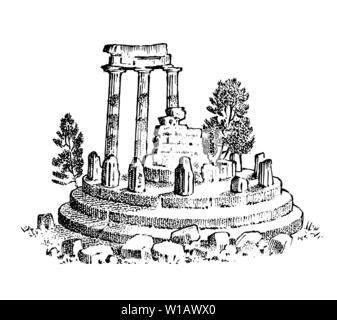 Ruines de la Grèce antique. Des colonnes grecques, paysage dans le style vintage. Gravé à la main vintage esquisse pour poster, une bannière ou un site web. Photo Stock