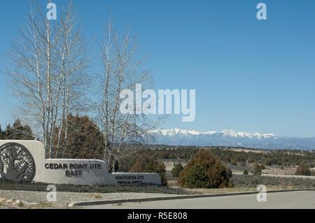 Quartier résidentiel, Southern Ute Reservation, Ignacio, Colorado. Photographie numérique Photo Stock