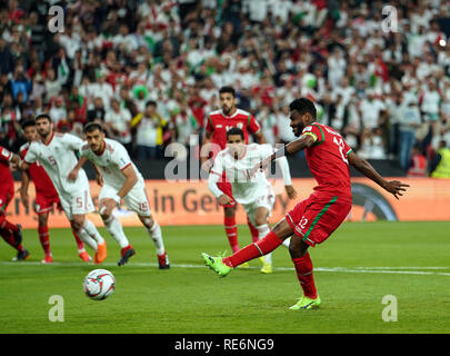 Abu Dhabi, EAU. 20 Jan, 2019. Zayed Sports City Stadium, Abu Dhabi, Émirats arabes unis ; déroulées d football, série de 16, l'Iran et l'Oman ; Ahmed Kano d'Oman manque un coup de pied de pénalité Credit : Action Plus Sport Images/Alamy Live News Photo Stock