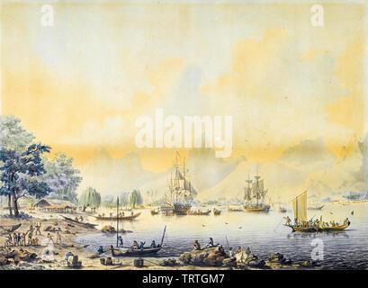 HMS Resolution à l'ancre à Moorea, l'une des îles amicales, Polynésie Française, peinture, vers 1787 Photo Stock