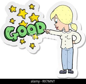 D'une caricature autocollant femme soulignant les bonnes Photo Stock