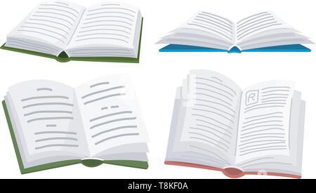 Livre ouvert pour l'amateur de littérature. Encyclopédies pour lecture. Disposé tête-bêche. Symboles et objets dans un style contemporain. Vector illustration pour Photo Stock