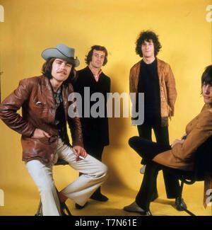 Groupe pop britannique de Nice le 9 juillet 1968. De gauche à droite: Lee Jackson, Blinkey Davidson, David O'List, Keith Emerson. Photo: Tony Gale Photo Stock