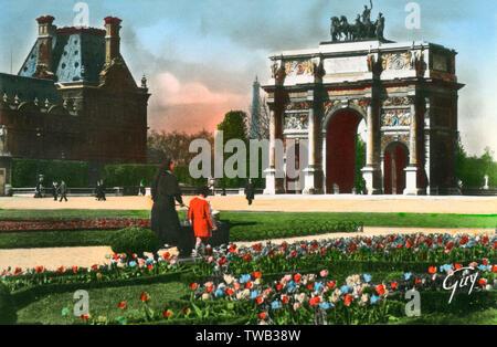 Paris, France - Place de l'Arc de triomphe du Carrousel Date: vers 1940 Photo Stock