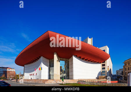 Place de l'université, le Théâtre National, conçu par Cezar Lazarescu, Bucarest, Roumanie, Europe Photo Stock