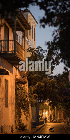 Les rues de Getsemani à l'aube, Carthagène, Colombie Photo Stock