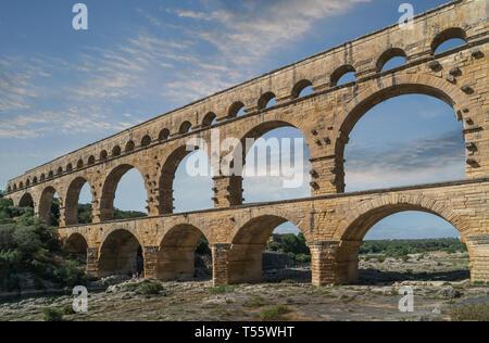 Pont du Gard à Castillon-du-Gard, France Photo Stock