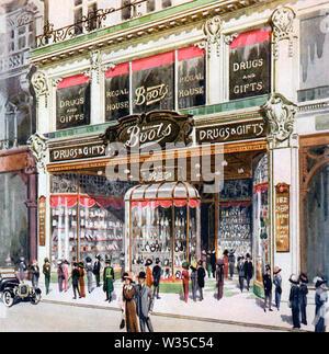 Bottes store au 182 Regent Street, Londres, en 1912 Photo Stock