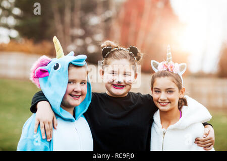 In costume halloween posing in park Photo Stock