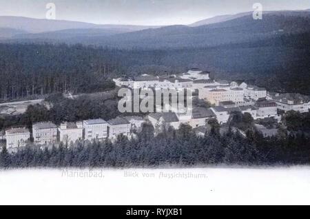 Depuis 1899, Hamelika, Karlovy Vary, Marianske Lazne, Blick vom Aussichtsturm, République Tchèque Photo Stock