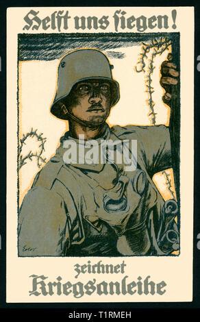 """L'Allemagne, en Rhénanie du Nord-Westphalie, Godesberg, WW I, carte postale patriotique avec le texte: 'Helft uns siegen! Zeichnet Kriegsanleihe"""" (Aidez-nous à être victorieux! Acheter emprunt de guerre), et d'un dessin d'un soldat, par la carte postale de l'artiste peintre allemand Fritz Erler (1868-1940), imprimé par Selmar Bayer, Berlin, carte postale envoyée 21. 05. 1917. , Additional-Rights Clearance-Info-Not-Available- Photo Stock"""