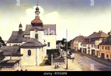 Monastères dans Ústí nad Labem, bâtiments en Rumburk, 1910, d'Ústí nad Labem, Rumburg, Bahnhofstraße, Kloster, République Tchèque Photo Stock