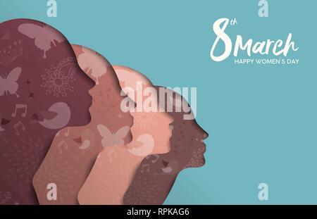 Heureux Womens Day illustration. Divers Groupe de fille mixte, papier coupé silhouette aux fleurs de printemps et dessinés à la main, gribouillages, belle femme de l'équipe de la FEMA Photo Stock
