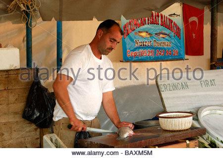 Un marché aux poissons à Istanbul TURQUIE Photo Stock