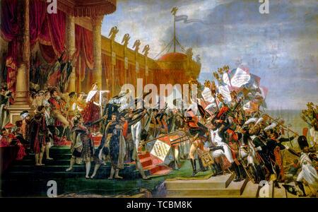 Jacques Louis David, l'Armée prête serment à l'Empereur après la distribution des aigles, 5 décembre 1804, peinture, 1810 Photo Stock