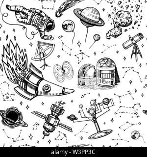 Modèle sans couture d'astronomie dans un style vintage. L'espace et le cosmonaute, lune et les vaisseaux spatiaux, les météorites et les étoiles, les planètes et l'arrière-plan de l'observatoire. Part Photo Stock