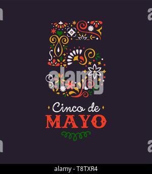 Le Cinco de Mayo illustration de carte de vœux pour le mexique fête vacances. Numéro 5 fait de style traditionnel mexicain décoration florale avec typographie Photo Stock