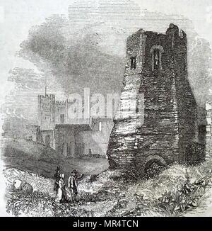 Gravure illustrant ce qui reste d'un ancien phare romain, tel qu'il était en 1840, situé sur la côte de Douvres. En date du 19e siècle Photo Stock