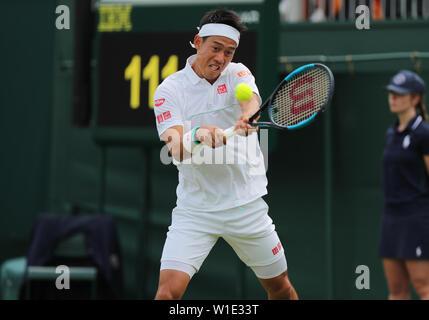 Wimbledon, Londres, Royaume-Uni. 2 juillet 2019. Kei Nishikori, Japon, 2019 Allstar Crédit: photo library/Alamy Live News Photo Stock