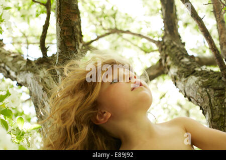 Girl climbing tree Photo Stock