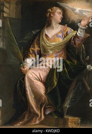 ST. CATHERINE D'ALEXANDRIE, EN PRISON, par Paolo Véronèse, 1580-85, la peinture italienne de la Renaissance. Photo Stock