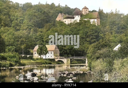 Schloss Rauenstein, Flöha (rivière), les ponts en Erzgebirgskreis, 1918, Erzgebirgskreis, Lengefeld, Schloß Rauenstein, Allemagne Photo Stock