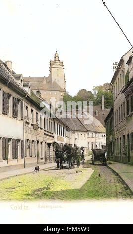 Chevaux du Landkreis Leipzig, Schloss Colditz, 1903, Landkreis Leipzig, Colditz, Badergasse mit Pferdefuhrwerk, Allemagne Photo Stock