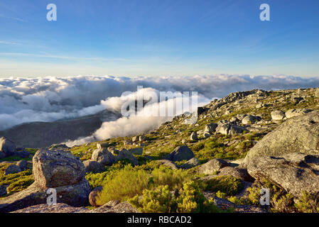 Haut de la plus haute chaîne de montagne au Portugal continental, 2000m. Le Parc Naturel de Serra da Estrela, Portugal Photo Stock