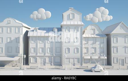 Livre blanc de la vieille ville de style. 3D illustration Photo Stock