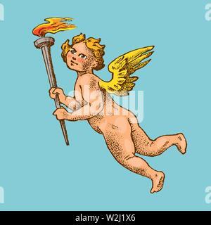 Cute angel avec des flèches et arc. Les petites ailes avec Cupids esthétique voler dans le ciel. Les enfants en monochrome style gravé. Modèle de tatouage ou d'un logo Photo Stock