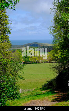 Paysage côtier, vue de sheringham Park, North Norfolk, Angleterre Photo Stock
