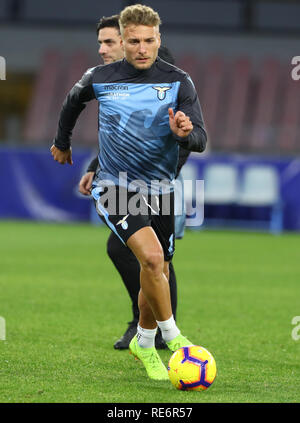 Naples, Italie. 20 Jan, 2019. Football Serie A, Naples et le Latium ; Ciro immobile du Latium durant le réchauffage Credit : Action Plus Sport/Alamy Live News Photo Stock