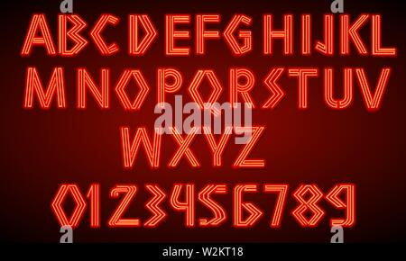 80 s retro néon rouge font. Script futuriste, chrome lettres. Alphabet d'impression lumineuse sur fond sombre. Symboles de la lumière de nuit show en club. Galaxy Photo Stock