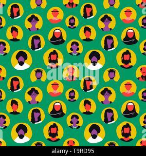 Les gens sans icônes colorées de style rétro. L'homme et la femme divers fond avatar pour communauté internationale ou la communication internet c Photo Stock