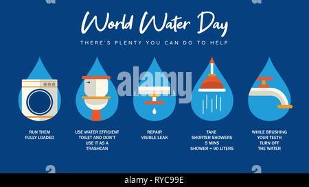 La Journée mondiale de l'eau infographie illustration avec l'information sur les soins d'eau de la maison. Salle de bains, tuyaux et les eaux courantes des activités pour Photo Stock