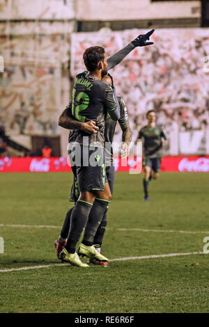 Madrid, Espagne. 20 Jan, 2019. La Liga football, Rayo Vallecano contre Real Sociedad ; Willian José (Real Sociedad) célèbre son but qui a 2-2 : Action Crédit Plus Sport/Alamy Live News Photo Stock
