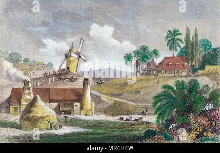 Lithographie en français montrant la colonie de la Guadeloupe (dans les Caraïbes). 1840 Photo Stock