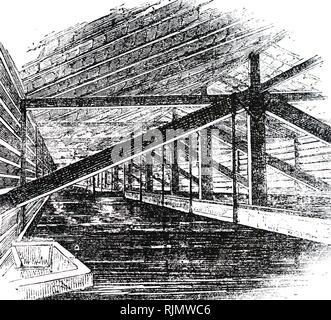 Une gravure de la brasserie: refroidissement le moût après ébullition et avant la fermentation. 1866 Photo Stock